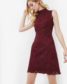 LATOYA High neck lace dress - Oxblood | Outlet | Ted Baker NEU