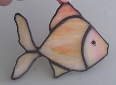 Tropical fish stained glass suncatcher gold fish