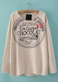 White Long Sleeve Letters Embroidery T-Shirt