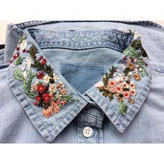 New embroidery jeans diy denim shirts ideas - Frauenhose Embroidered Denim Shirt, Embroidered Clothes, Embroidery On Clothes, Embroidery Fashion, Embroidery On Denim, Embroidery Patches, Diy Embroidery Shirt, Hand Embroidery Designs, Vintage Embroidery