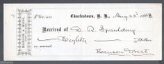 1863 Reciept from D.R. Spaulding to Hanson & West Boots & Shoes Charlestown N.H.