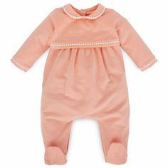 Peach Fleece Braided Babygrow