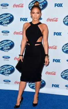 Jennifer Lopez bet on black at the American Idol XIII Finalists Party wearing a Cushnie Et Ochs Spring 2014 Cutout Dress. An effortless . American Idol, Celebrity Outfits, Celebrity Look, Beautiful Dresses, Nice Dresses, Cutout Dress, Red Carpet Looks, Looks Style, Red Carpet Fashion