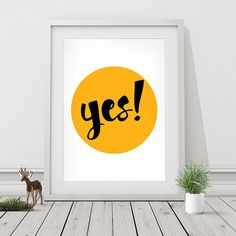 "Motivational Print ""YES"" Typography Quote Home Decor Motivational Poster Scandinavian Design Wall Art Insprational Print"