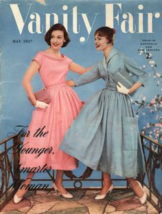 1957 60s 50s vanity fair cover color photo print ad pink and blue dresses cowl neck models magazine