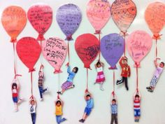 Kid photos hanging from balloon messages for Mother's Day…fun!