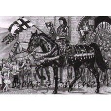Richard III riding out of Middleham Castle A3 Print