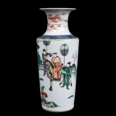 Description A small Chinese famille verte rouleau vase. In Kangxi style, brightly decorated with a mounted Immortal carrying a naked infant in his arms, with banner-carrying attendants on a fenced path amongst trees & rocks, iron red cloud scrolls at the neck.  Date Mid 19th century  www.collectorstrade.de