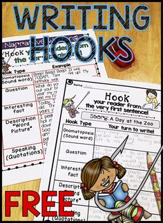 Writing Hooks Posters & Practice Sheets! Perfect for Grades 1-2, but could definitely be used with older students!
