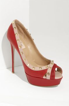"""Wow...  These """"Rockstud"""" Open Toe Pumps by Valentino are a definite must have to my (Pinterest) shoe closet.  ;)"""