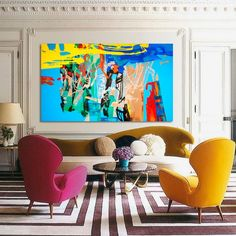 Canvas art painting XXL Abstrct painting Blue, Orange Green, Abstract Painting yellow red black, Modern Painting, 77 x 45 inches Estilo Hollywood Regency, Colourful Living Room, Aesthetic Room Decor, Home And Deco, Eclectic Decor, Interiores Design, Interior Design Inspiration, Colorful Interiors, House Colors