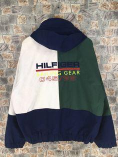 1cfe292c TOMMY HILFIGER Windbreaker Reversible Jacket Large Vintage 90s Tommy  Colorblok Zipper Hoodie Jacket Tommy Sailing Gear Coat Size L