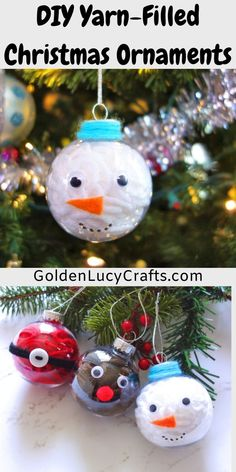 These DIY yarn-filled clear Christmas ornaments make great holiday craft projects for those who love to knit or crochet and have yarn available at home! Clear Christmas Ornaments, Diy Christmas Presents, Christmas Gifts For Girls, Christmas Ornaments To Make, Holiday Crafts, Christmas Ideas, Christmas Christmas, Kids Presents, Ornaments Ideas