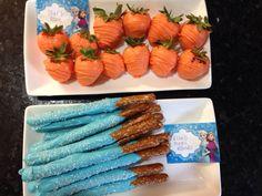 Olaf noses and Elsa magic wands-  Orange chocolate covered strawberries and chocolate covered pretzels