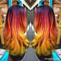 14 Awesome Ombré Hairstyles 14 Awesome Ombré Hairstyles,Erhair Ombré hair has risen to the top over the last couple of years. Check out 14 of the most awesome ombré hairstyles around. Unicorn Hair Color, Ombre Hair Color, Cool Hair Color, Hair Colors, Fire Ombre Hair, Flame Hair, Sunset Hair, Beautiful Red Hair, Beautiful Sunset