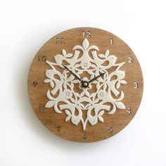 Bamboo Birdies Clock Large 8 inches by decoylab on Etsy