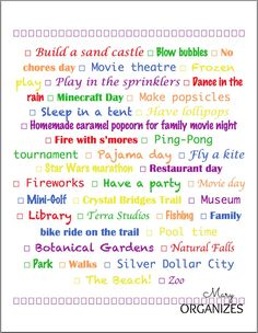 Ready for Summer -- bucket list from Mary Organizes