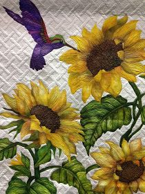 """""""A Taste of Sunshine"""" by Deb Crine. Best Machine Workmanship, 2014 World Quilt Show (Florida). Closeup photo by Blooming In Chintz January 2014 Sunflower Quilts, Sunflower Art, Antique Quilts, Vintage Quilts, Quilting Projects, Quilting Designs, Landscape Art Quilts, Bird Quilt, Thread Painting"""