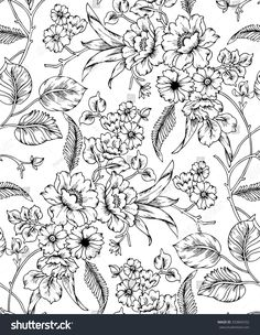 📷 Royalty-free image: Seamless black and white floral pattern Black And White Flowers, Clipart Black And White, Black And White Drawing, Small Tattoos With Meaning, Cute Small Tattoos, Pattern Design Drawing, Floral Drawing, Drawing Flowers, Floral Sleeve