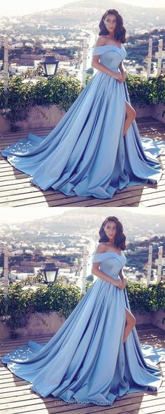 Modest Long Prom Dresses Princess, 2019 Light Sky Blue Formal Evening Dresses With Slit Light Sky Blue Prom Dresses Long, Princess Prom Dresses With Slit, 2019 Prom Dresses for Teenagers, Vintage Prom Dresses Off-the-shoulder Princess Prom Dresses, Prom Dresses 2018, Formal Evening Dresses, Dress Formal, Dress Prom, Cinderella Prom Dresses, Long Dresses, Formal Wear, Orange Homecoming Dresses