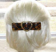 "VTG HAIR CLIP GRIP BARRETTE HEAD PIECE TORTOISE PLASTIC GOLDEN HEART LARGE 4½"" 35$"