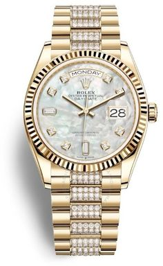 Day-Date 36 Mother of Pearl Dial 18kt Yellow Gold Diamond-Set President Watch 128238MDDP Rolex Watches, Watches For Men, Rolex Day Date, 3 O Clock, Gold Hands, Gold Set, Automatic Watch, Gold Watch, Sapphire
