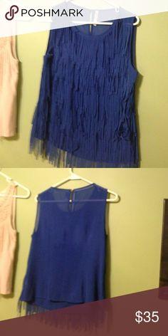 Blue fringe blouse Deep blue 100% polyester blouse. Worn once Leshop Tops Blouses