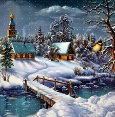 Christmas Scenery, Winter Scenery, Christmas Love, Country Christmas, Christmas Pictures, Winter Christmas, Vintage Christmas, Winter Scene Paintings, Christmas Paintings On Canvas