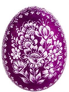 Handmade Easter egg - Polish ... Opole scratched - purple