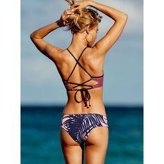 PINK Cross-back Scoop ($40) ❤ liked on Polyvore featuring swimwear, bikinis, bikini tops, red, red bikini top, red swimwear, red swimsuit top, red tankini top and swim tops