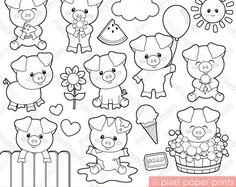 Cute Piglets - Digital Stamps - Clipart