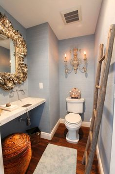 House of Turquoise. make a powder room / small bathroom feel grand. home decor and interior decorating ideas. Home Interior Design, Luxury Homes, House, Luxury Interior Design, Bathroom Decor, Home, Interior, Bathroom Design, Beautiful Bathrooms