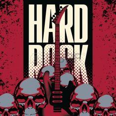 pancarta con una guitarra cr neos humanos y de las palabras rock duro Foto de archivo