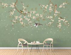 Vintage Bird Wallpaper, Unique Wallpaper, Vintage Birds, Flower Wallpaper, Vintage Flowers, Painting Wallpaper, Wall Wallpaper, Wallpaper Ideas, Chinoiserie Wallpaper
