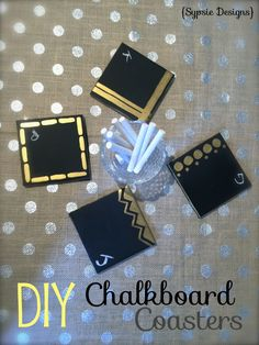 Chalkboard coasters are perfect for guests during the holidays! Think a new one-size-fits-all twist on wine charms... | sypsie.com