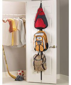 Backpack Storage Rack behind door? Kids Backpack Storage, Backpack Organization, Back To School Organization, Storage Bins, Storage Rack, Closet Organization, Storage Ideas, Backpack Hooks, Organizing School