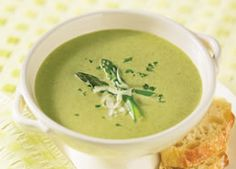 Cream of Asparagus Soup - made a pot today - yummy. Creamed Asparagus, Asparagus Recipe, Creamed Mushrooms, Baked Potato Soup, Sweet Potato Soup, Recipes For Soups And Stews, Soup Recipes, Carnation Milk Recipes, White Bean Chili Vegetarian