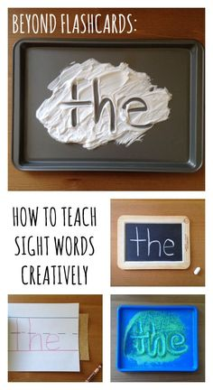 Tired of flashcards? Here are some creative (and effective) ways to teach sight … Tired of flashcards? Here are some creative (and effective) ways to teach sight words (or dolch, high-frequency, fry, etc. Love the hands on sensory activities! Teaching Sight Words, Sight Word Practice, Sight Word Activities, Literacy Activities, Listening Activities, High Frequency Words Kindergarten, Writing Practice, Literacy Centers, Kindergarten Sight Words