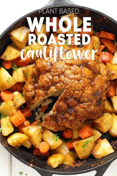 4 Points About Vintage And Standard Elizabethan Cooking Recipes! Whole Roasted Cauliflower - Pot Roast, Vegan Style Tons Of Savory Flavor, Perfect For A Holiday Like Thanksgiving Or A Big Family Dinner. Vegan Dinner Recipes, Vegan Dinners, Vegetarian Recipes, Cooking Recipes, Healthy Recipes, Vegan Roast Dinner, Vegetarian Gravy, Vegetarian Options, Easy Cooking