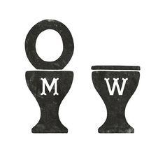 Brilliant gents vs. ladies bathroom signage on Paper and Pretty