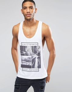 ASOS+Vest+With+California+Print+And+Extreme+Racer+Back