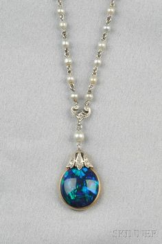 Edwardian Black Opal Pendant | Sale Number 2575B, Lot Number 723 | Skinner Auctioneers