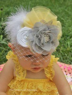 Baby Girl Headband - Baby Headband - Big Vintage Headband -  Yellow, Grey, and White - Vintage Baby - Over the Top Headband. $19.00, via Etsy.    One of these for royal teas, please.