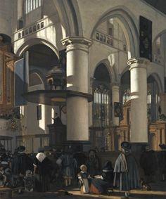 Emanuel de Witte (Dutch, 1617-1692)  Interior of the Oude Kerk in Delft