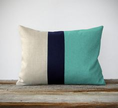 Mint Colorblock Decorative Pillow with Navy and Natural Linen Stripes by JillianReneDecor Modern Home Decor Color-block Aqua Turquoise. $55.00, via Etsy.