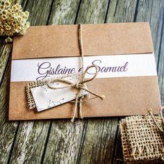 Convite de Casamento Rústico Personalizado Com Laço em Sisal, Tag para Nome dos convidados e Detalhe em Juta Envernizada