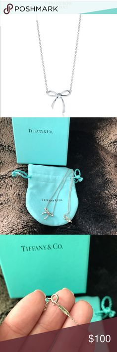 Tiffany Bow Pendant Necklace 🎀 Tiffany bow 🎀 pendant necklace. In excellent condition. Could use a cleaning but if you take it to any Tiffany store and pay a small fee they'll do that. It will look brand new with a cleaning! You will get necklace, box, silver care card and storage pouch. 💯 percent authentic purchased at Palm Desert Tiffany store. It was years ago so I don't have the receipt. Always stored in my jewelry box! Tiffany & Co. Jewelry Necklaces
