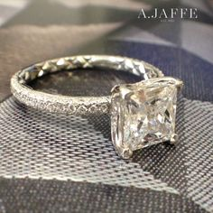 A.JAFFE Delicate Pavé Princess Cut Quilted Engagement Ring (style ME1855Q). Info and PRICING AT http://www.ajaffe.com/delicate-pave-princess-cut-quilted-engagement-ring-me1855q #bridalguides #engagement #engagementringphotos #engagementringparty #engagementpictures