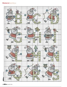 Santa alphabet part 1 free cross stitch pattern