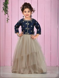 Beige And Navy Blue Net Fabric Lehenga Choli, Lehenga For Girls, Kids Lehenga Choli, Kids Lehanga, Girls Dresses Sewing, Gowns For Girls, Little Girl Dresses, Half Saree Designs, Choli Designs, Kids Dress Wear